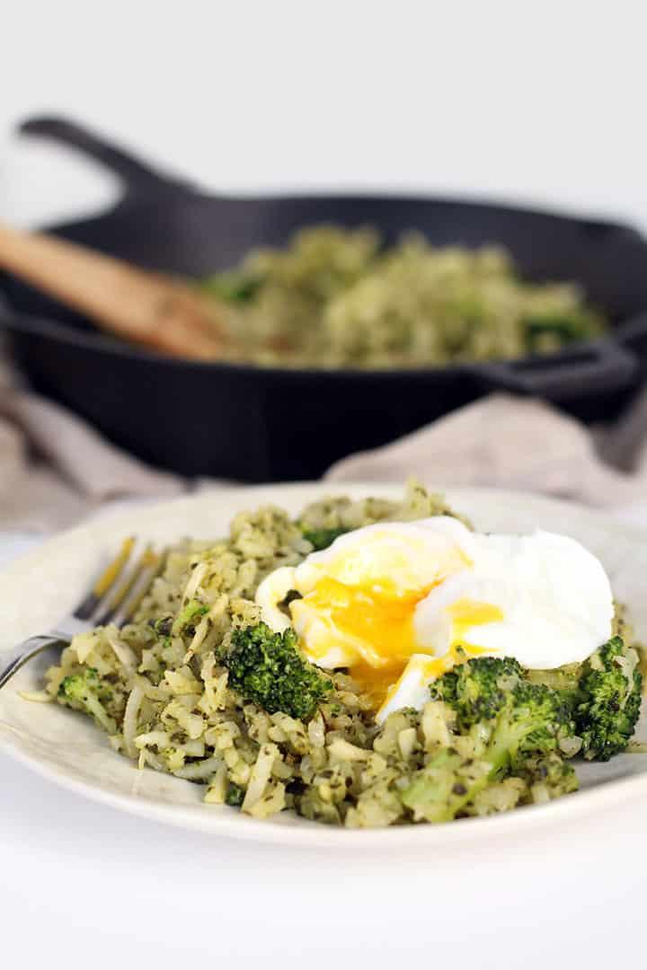 Pesto Turnip and Broccoli Rice with Poached Egg