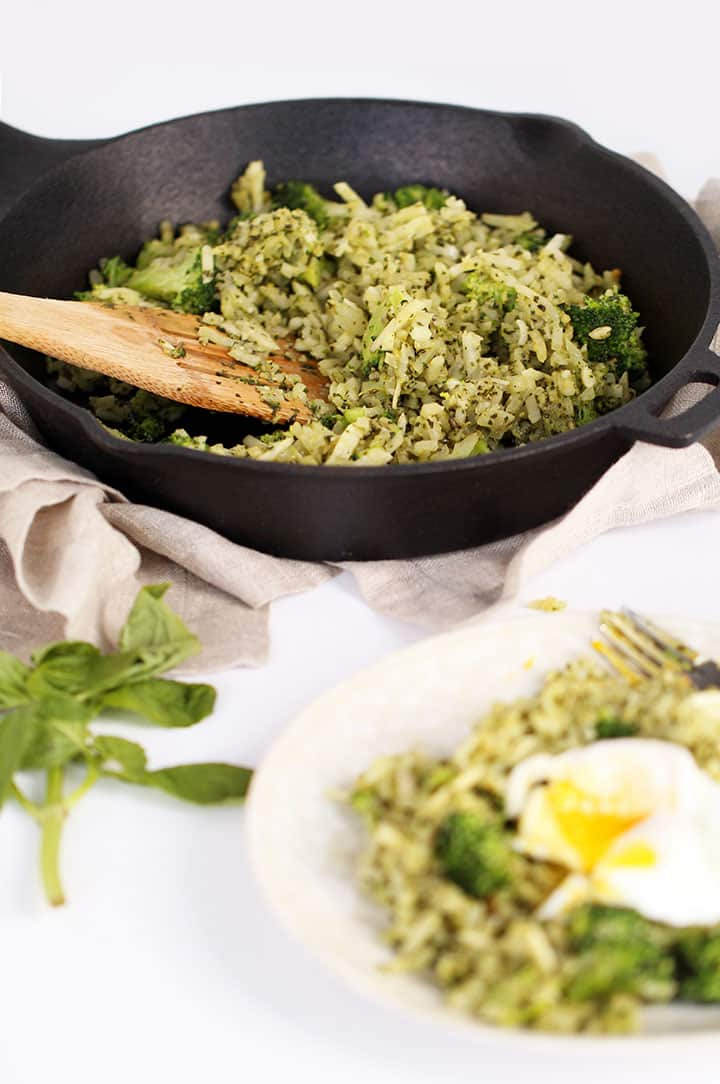 Pesto Turnip and Broccoli Rice with Poached Egg