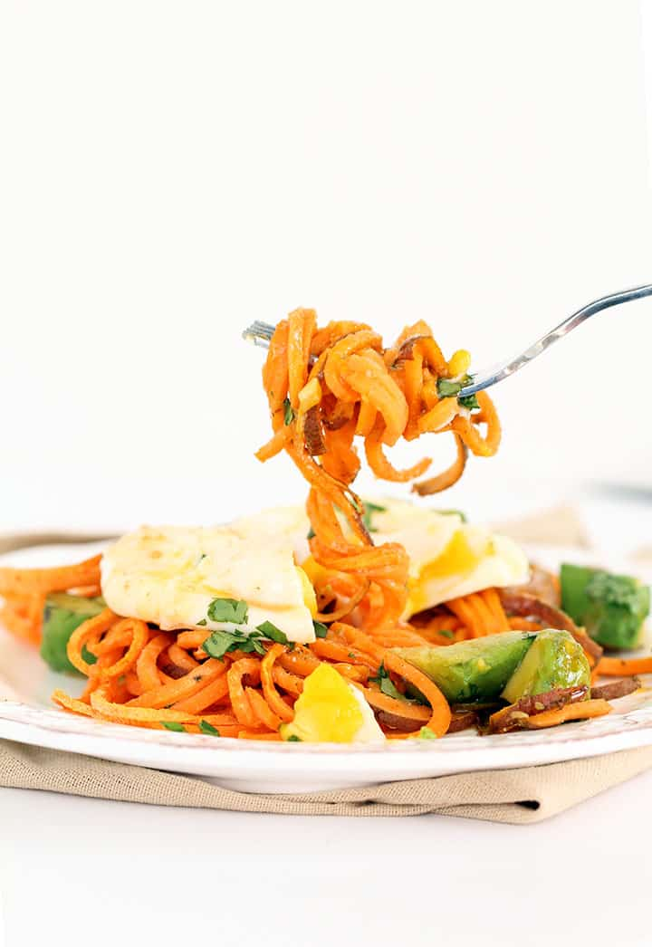 how to cook sweet potato spiralized noodles