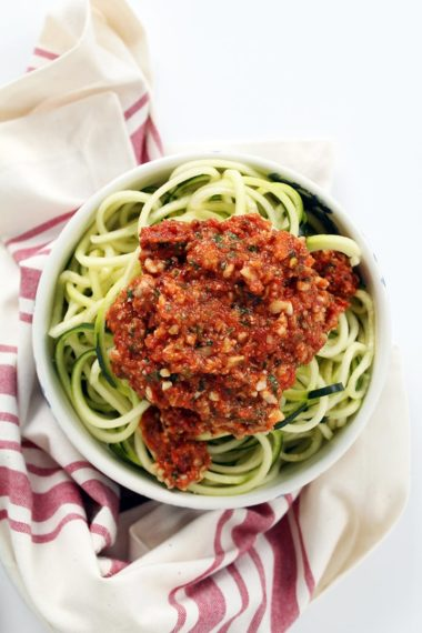 Zucchini Noodles with Fire Roasted Tomato and Crunchy Almond Pesto