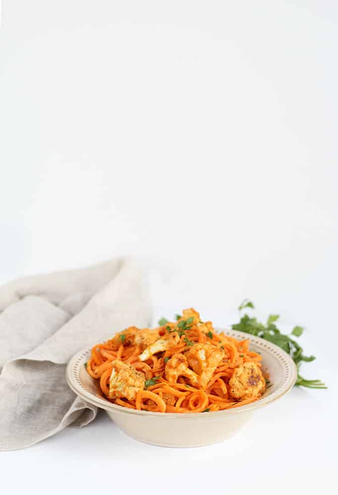 Vegan Buffalo Cauliflower with Sweet Potato Noodles