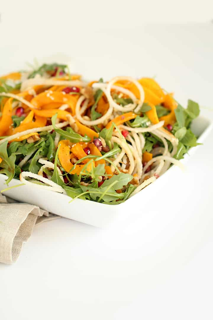 Pear, Pomegranate and Roasted Butternut Squash Salad with Maple Sesame Vinaigrette