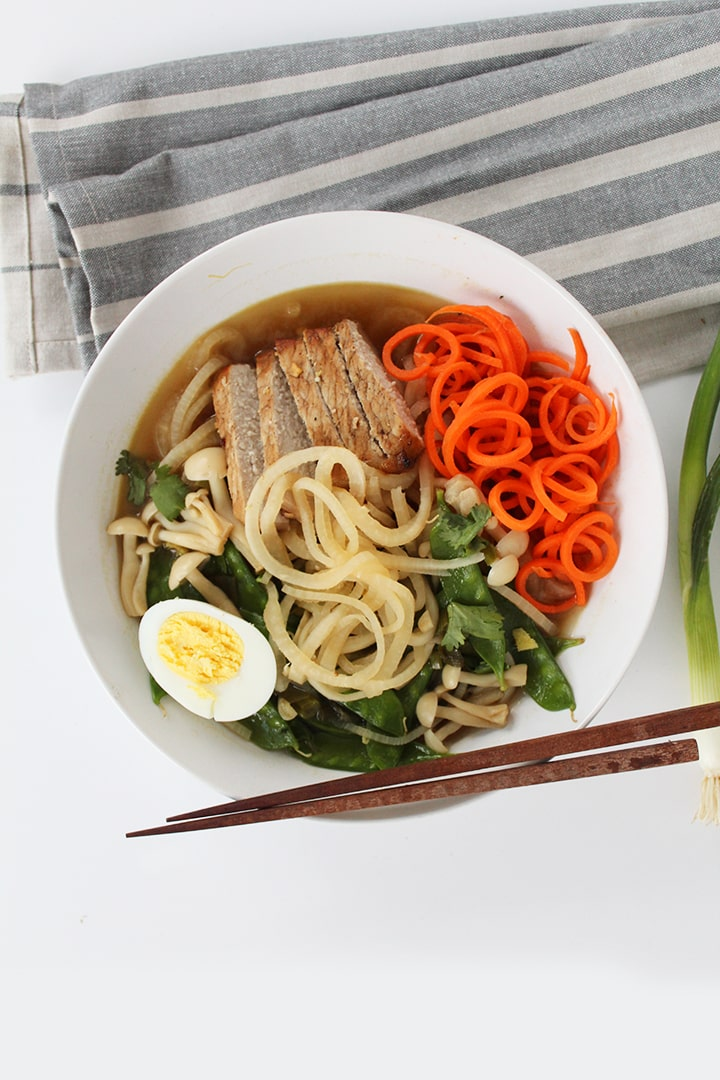 BBQ Pork Turnip Noodle Ramen, see more at http://homemaderecipes.com/healthy/11-vegetable-spiralizer-recipes