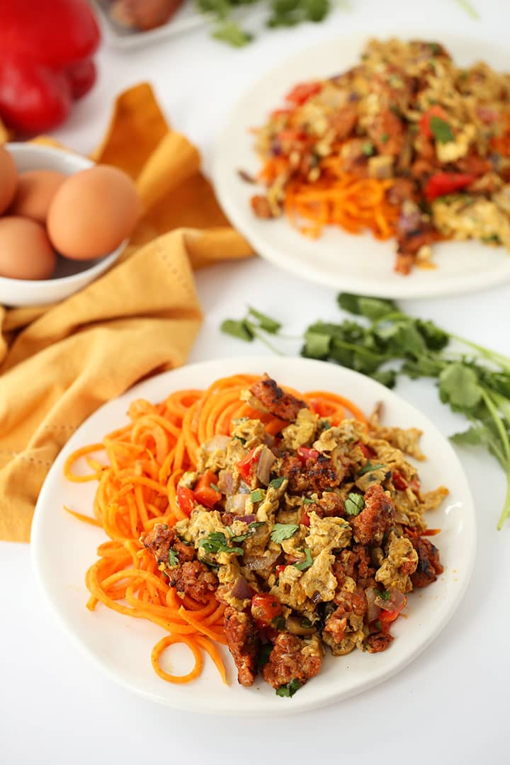 "Spicy Chorizo ""Migas"" with Sweet Potato Noodles"