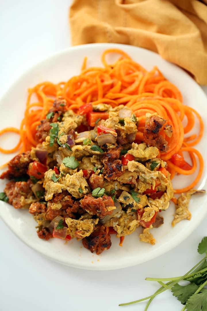 "Spicy Chorizo ""Migas"" with Sweet Potato Noodles"