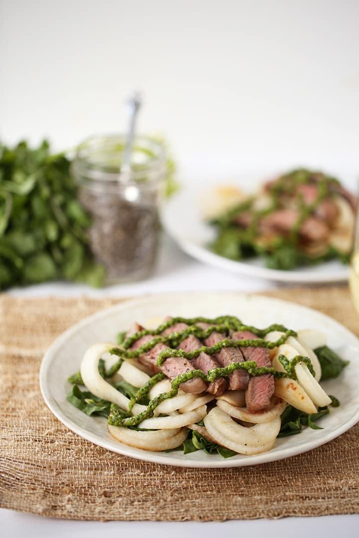 Chia-Chimichurri Steak with Turnip-Chard Pasta
