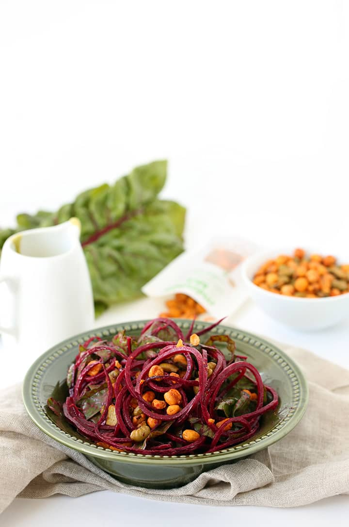 Raw Beet Noodle and Rainbow Chard Salad with Avocado-Ranch Dressing