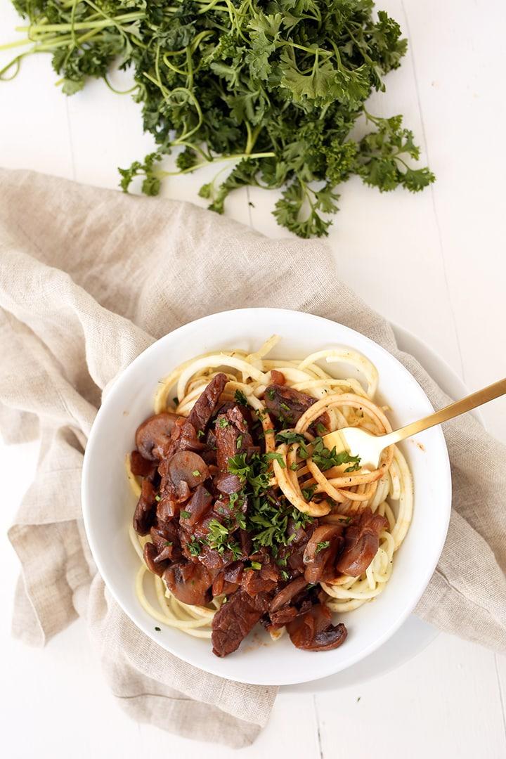 Beef Stroganoff with Celeriac Noodles