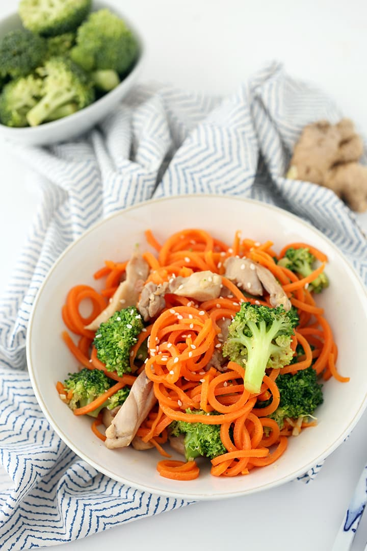 Sesame-Ginger Garlic Chicken and Broccoli Carrot Noodle Stir Fry