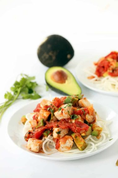 Spicy Tilapia and Black Radish Spaghetti with Cilantro-Jalapeno Avocado Tomato Sauce