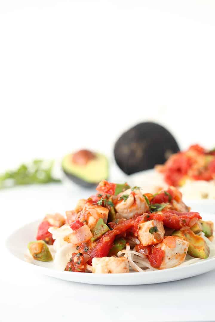 Spicy Tilapia and Black Radish Spaghetti with Cilantro-Jalapeno Avocado Tomato Sauce