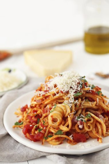 Parsnip Spaghetti All'Amatriciana