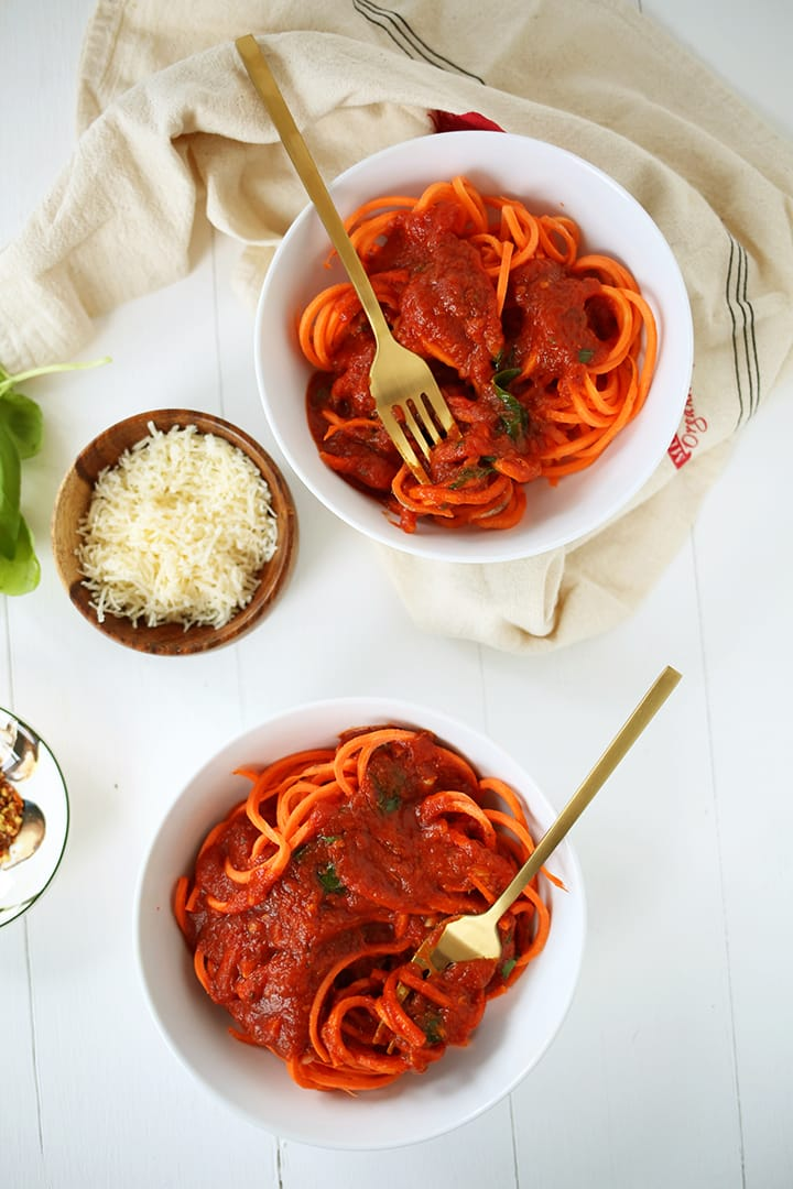 Pasta Arrabbiata with Carrot Noodles