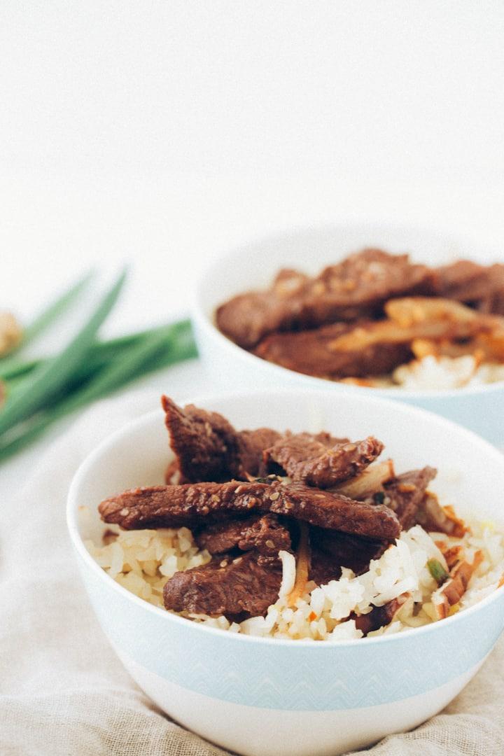 Korean Bulgogi with Shiitaki Mushroom Turnip Rice