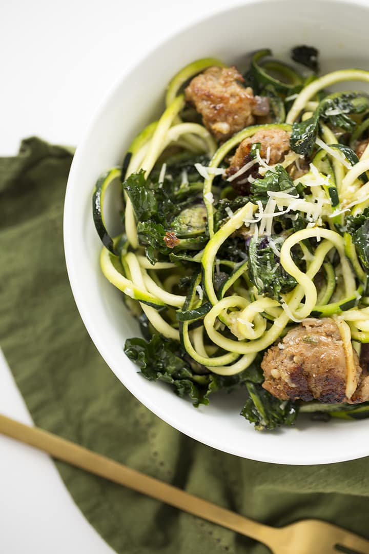 Spicy Parmesan-Garlic Zucchini Pasta with Sausage and Kalettes