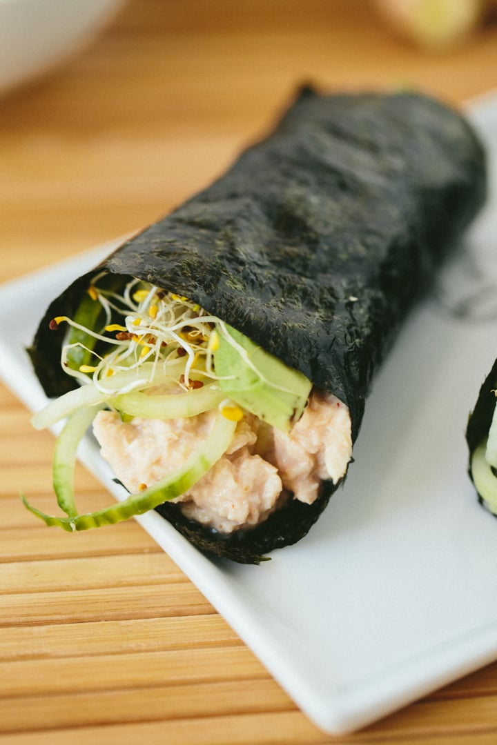Quick Cucumber-Avocado Tuna Hand Rolls with Sriracha-Ginger Fayo