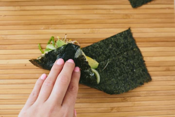 Quick Cucumber-Avocado Tuna Hand Rolls with Sriracha-Ginger Fayo