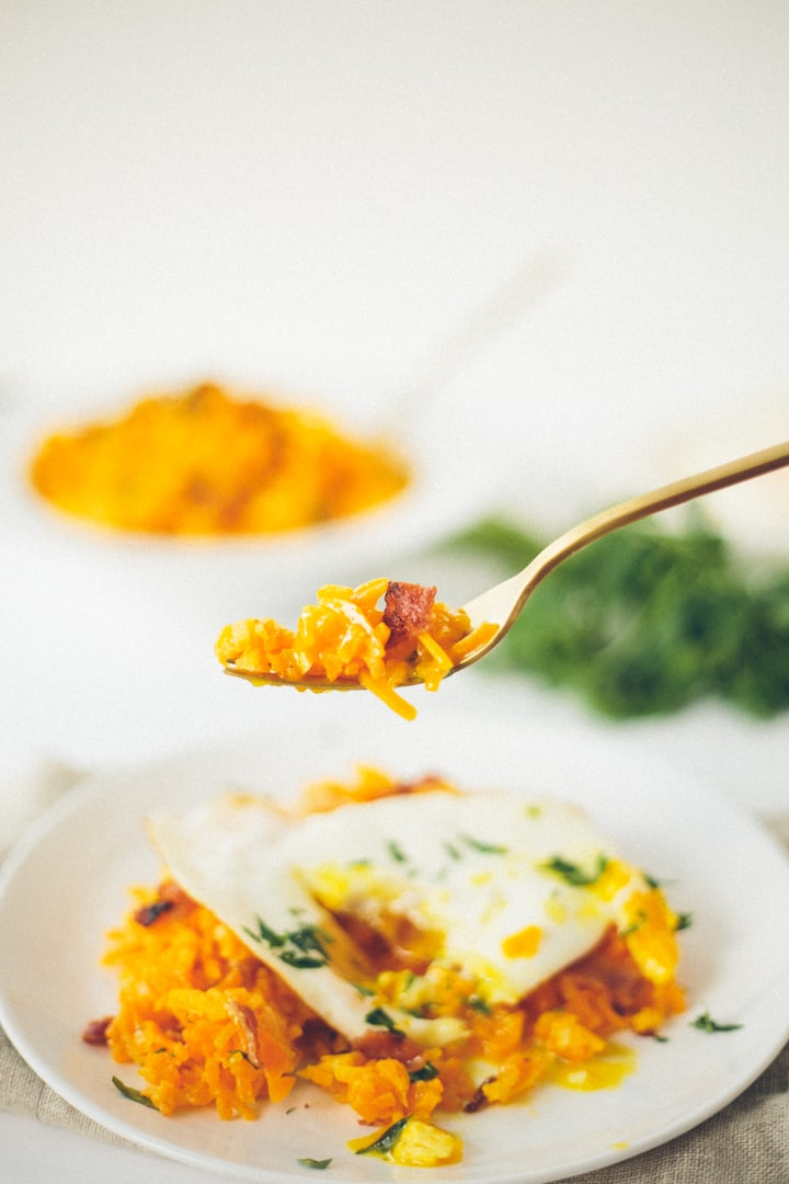 Butternut Squash Breakfast Risotto with Fried Egg and Bacon