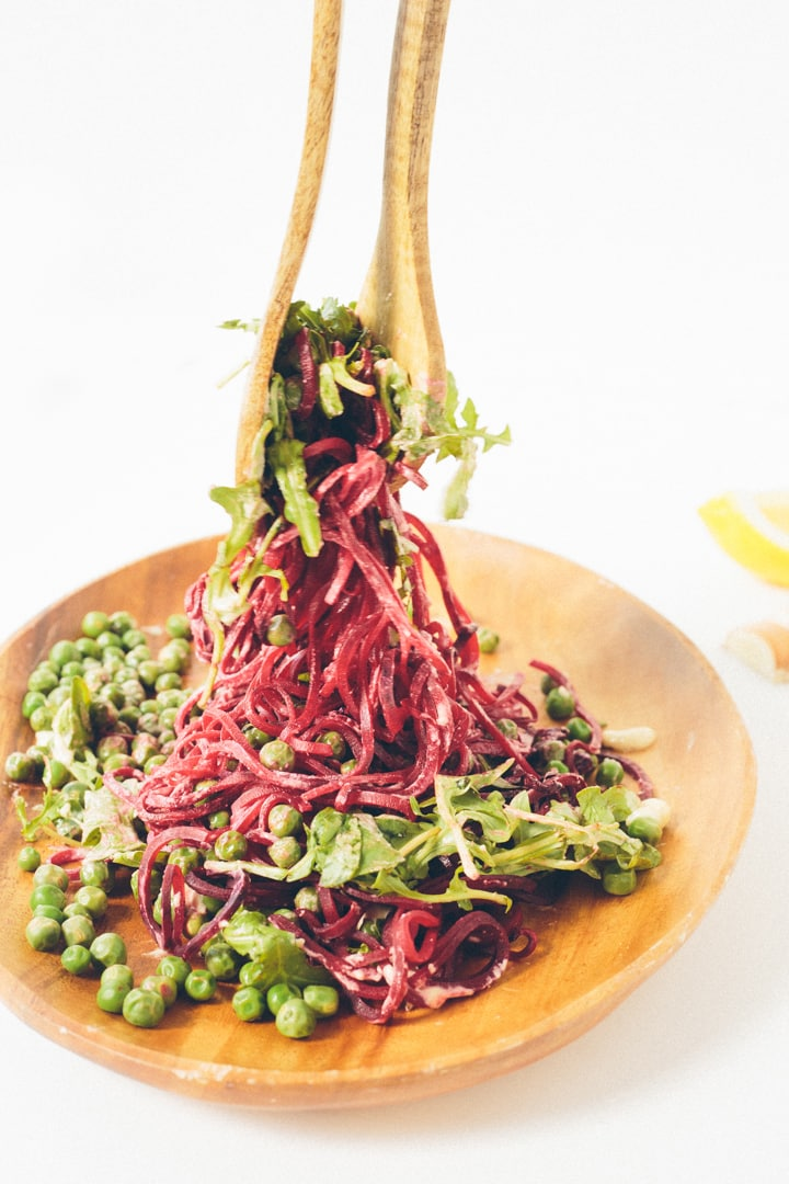 Beet Noodle, Pea and Arugula Salad with Lemon-Garlic Tahini Sauce