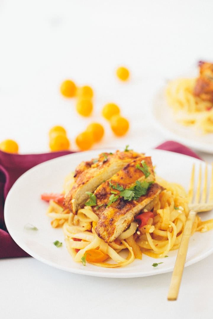 Moroccan Chicken and Roasted Red Pepper Kohlrabi Pasta