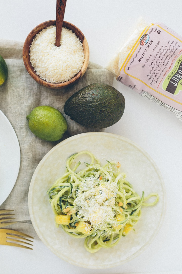 Raw Coconut-Mango Zucchini Noodles with Cashews