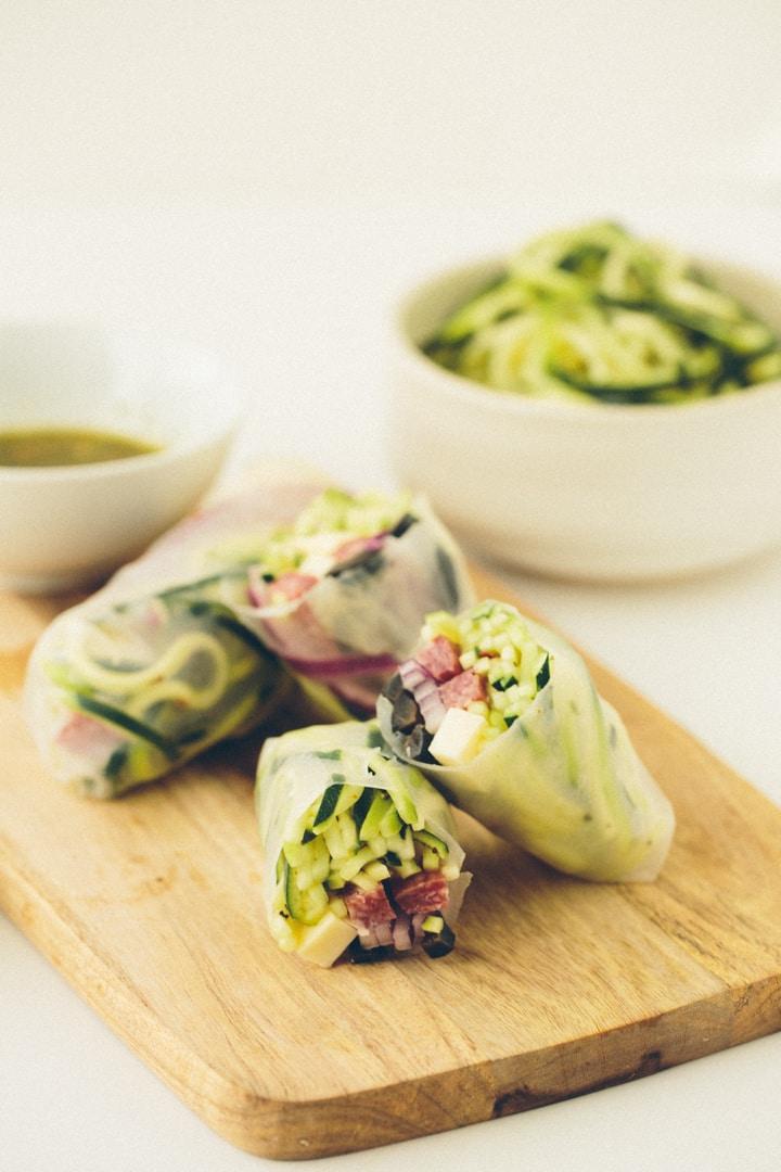 Italian Zucchini Pasta Spring Rolls