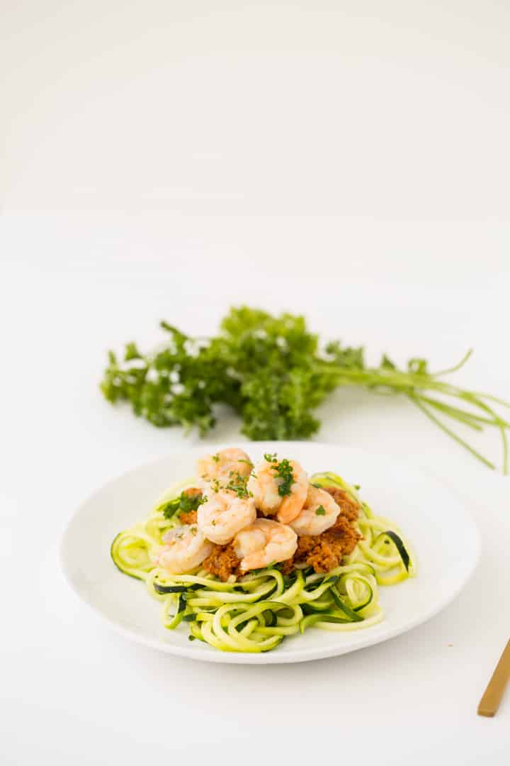 Romesco Garlic Shrimp with Zucchini Noodles