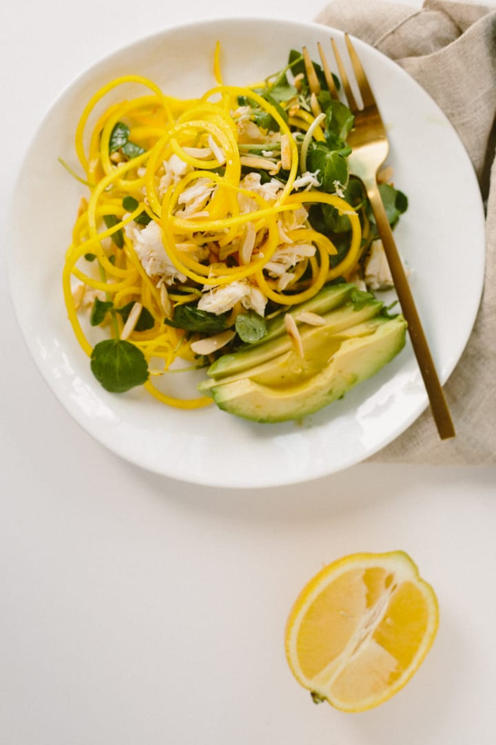 Jalapeno-Citrus Golden Beet Noodle Salad with Crab, Avocado and Toasted Almonds