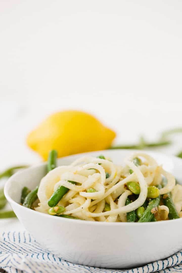Garlic-Lemon Turnip Pasta with String Beans and Edamame