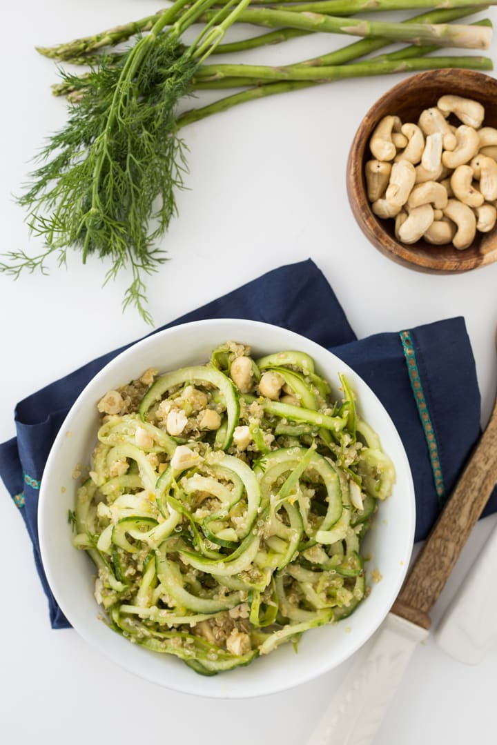 Chilled Spring Cucumber-Dill Salad with Cashews and Quinoa