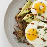 Spiralized Potato Breakfast Pie with Avocado and Fried Eggs