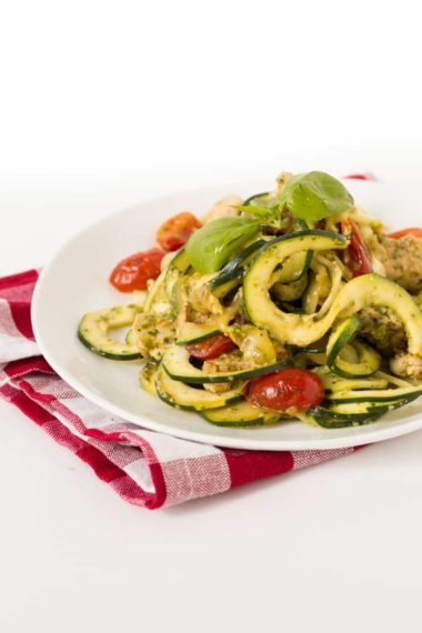 Chicken and Pesto Zucchini Fettuccine with Tomatoes