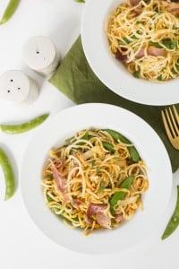 Spring Prosciutto Parsnip Pasta with Snap Peas