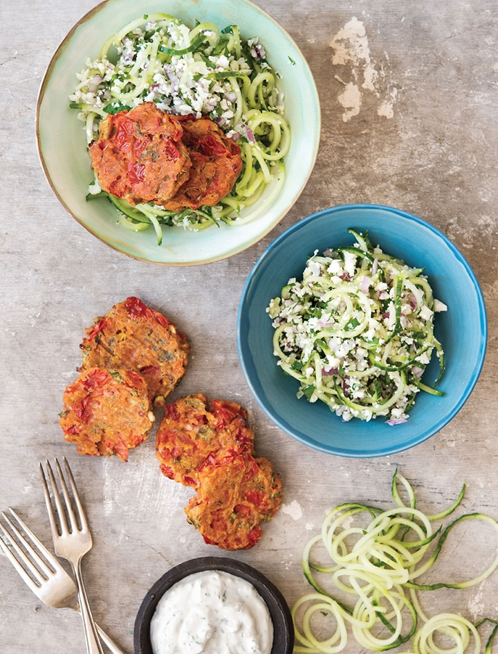 Tomatokeftedes and Cauliflower Tabouleh Salad