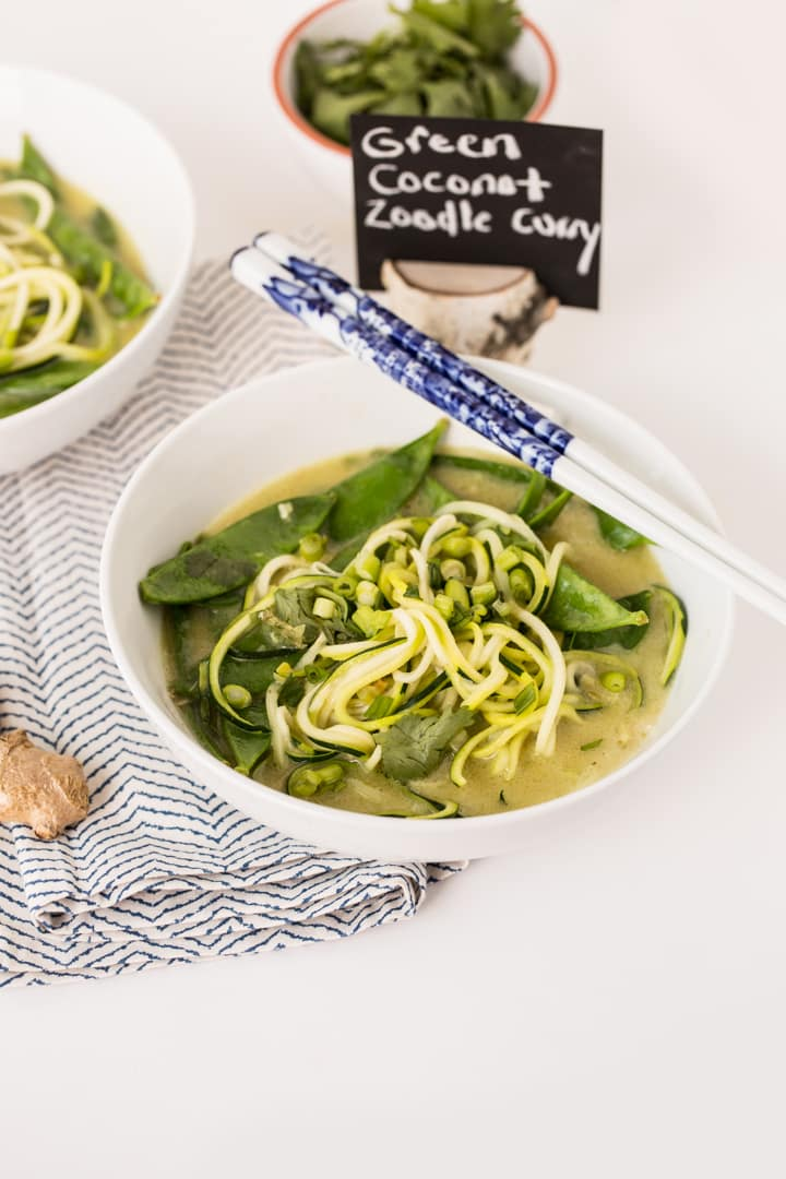 Easy Coconut Green Curry with Zucchini Noodles