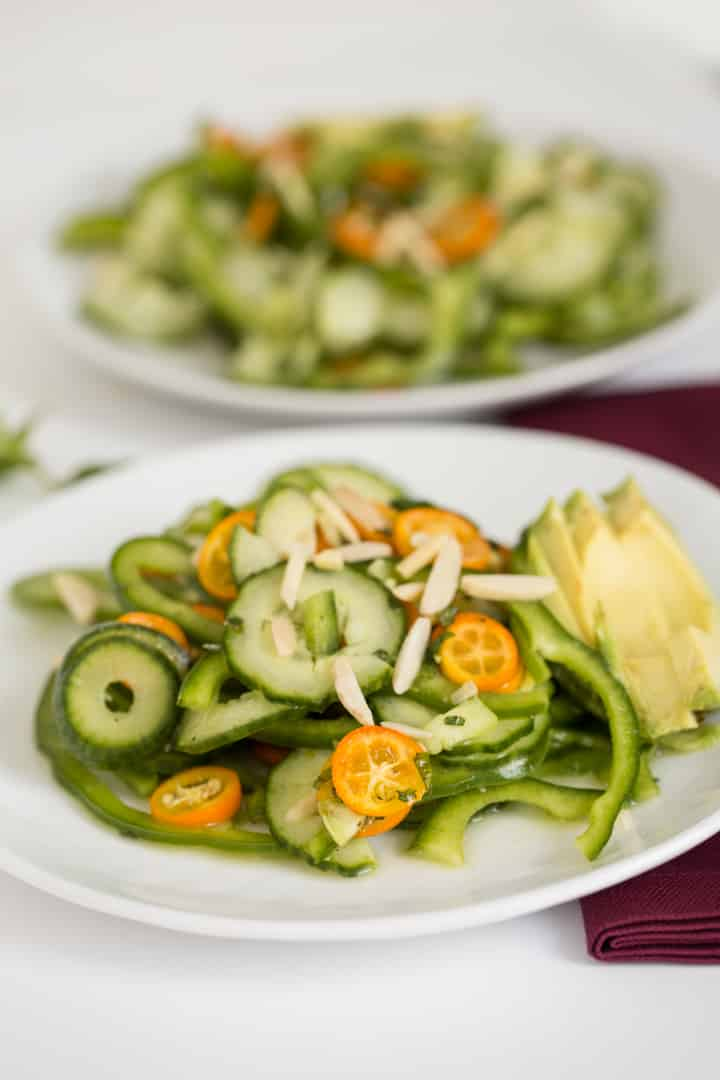 Mint-Ginger Kumquat, Bell Pepper and Cucumber Noodle Salad