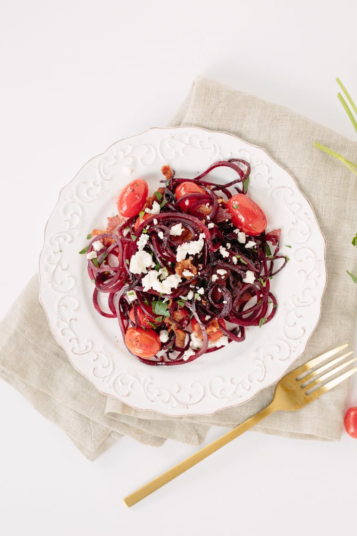 Beet Noodles with Tomatoes, Feta and Bacon