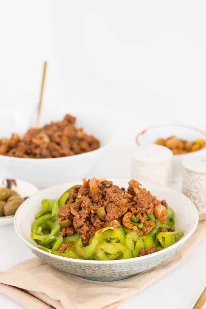 Beef Picadillo with Spiralized Green Bell Peppers