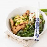 Sesame Chicken and Bok Choy Zucchini Noodle Bowl with Sriracha