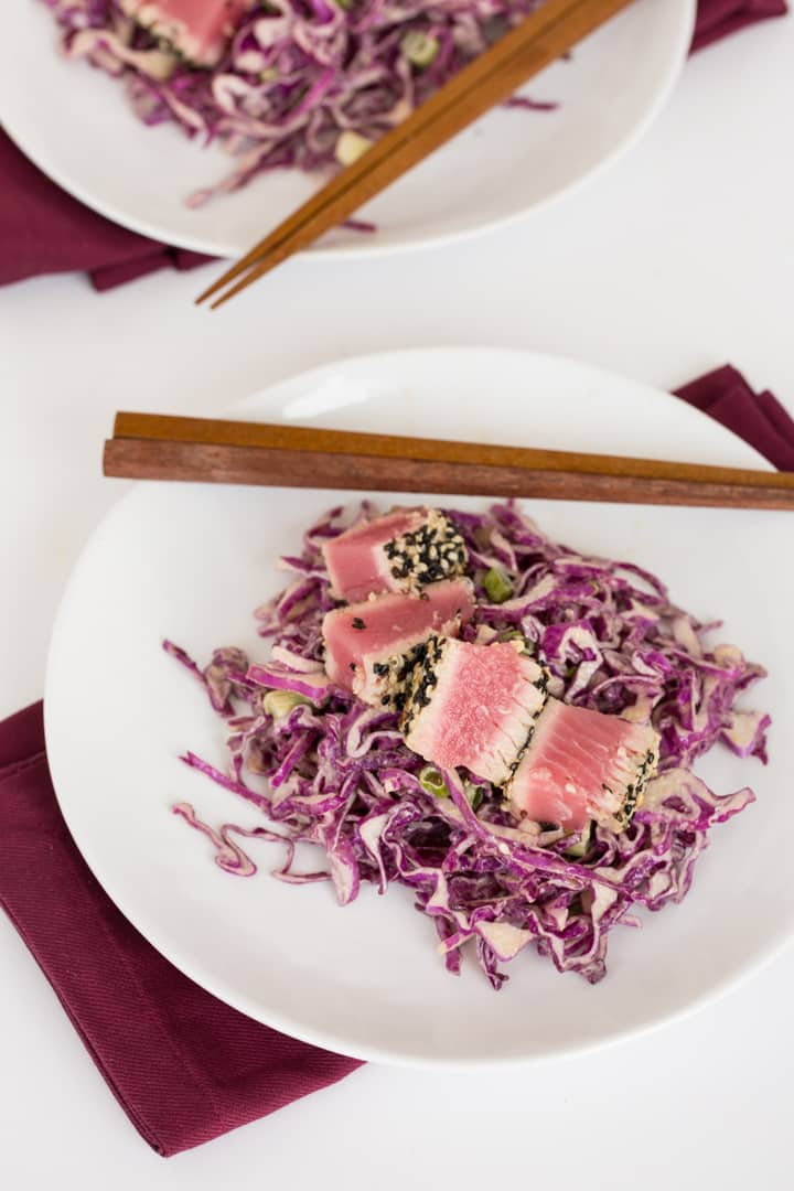 Crusted Tuna with Sesame-Tahini Red Cabbage