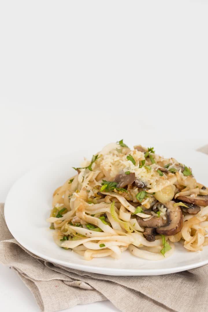 Garlic Mushroom and Leek Turnip Noodles