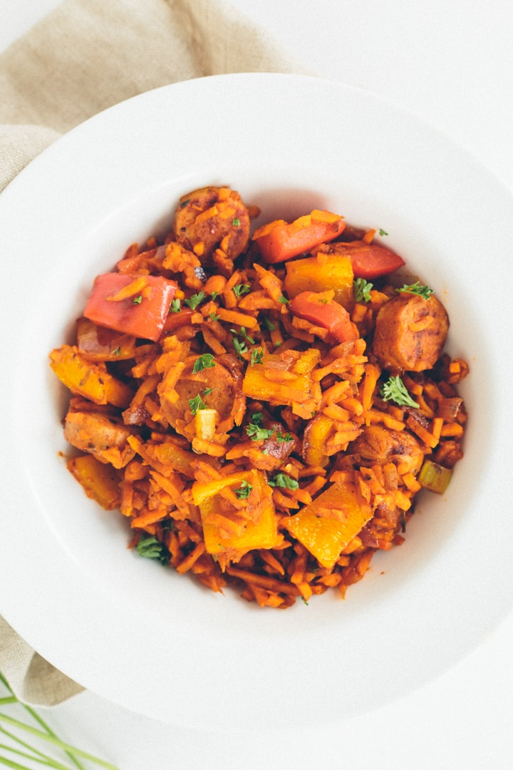 "Chicken Sausage and Peppers with Sweet Potato ""Dirty Rice"""