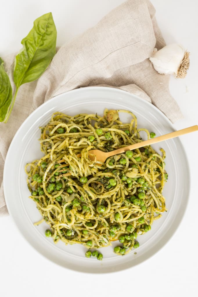 Peas and Pesto Potato Noodles