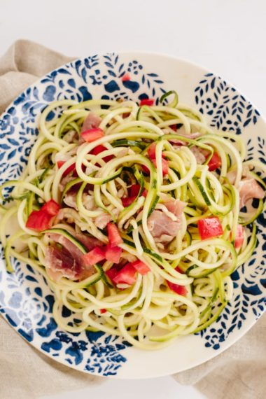 Chilled Zucchini Noodle and Prosciutto Salad with Sunflower Seeds