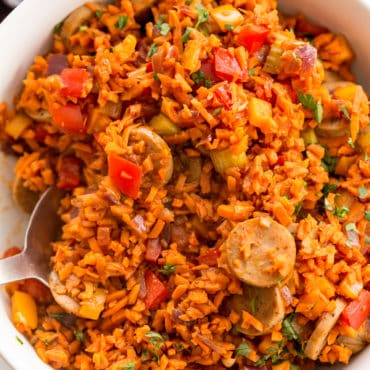 Chicken Sausage and Peppers with Sweet Potato Dirty Rice