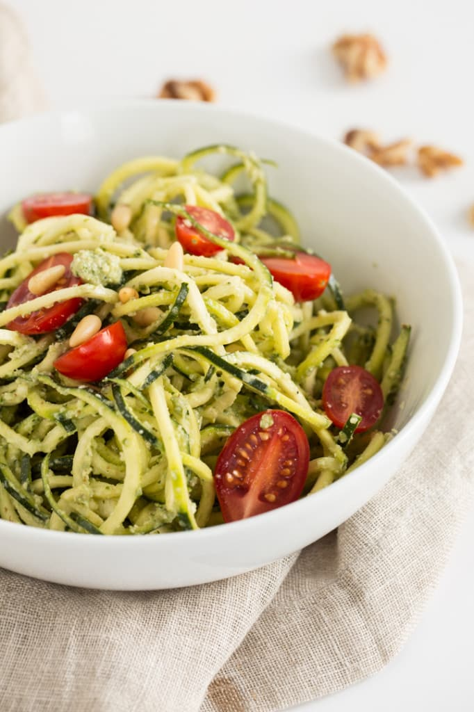 Oil-Free Walnut Pesto Zucchini Noodles
