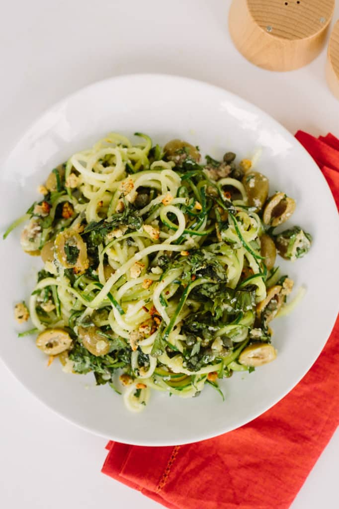 Zucchini Linguine with Green Olive Sauce and Zesty Gluten-Free Breadcrumbs