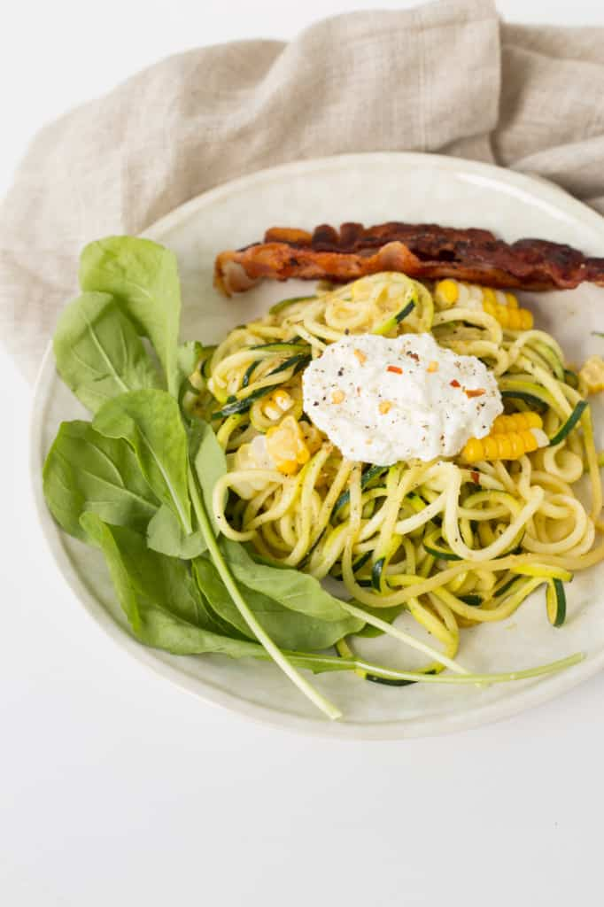 Zucchini Noodle and Arugula Salad with Bacon, Corn and Ricotta
