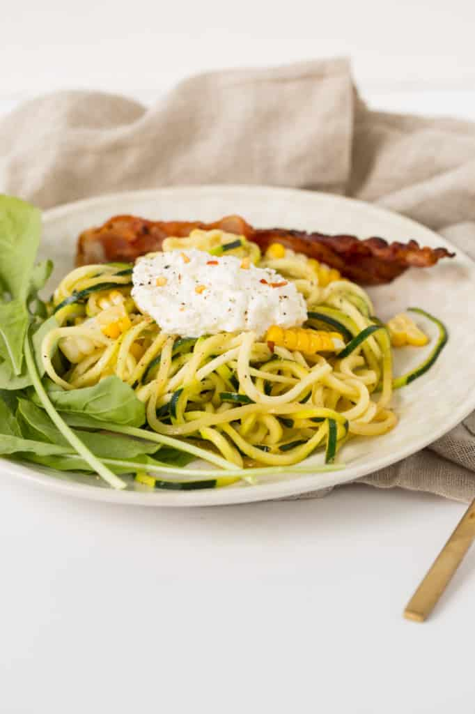Zucchini Noodles and Arugula with Bacon, Corn and Ricotta ...