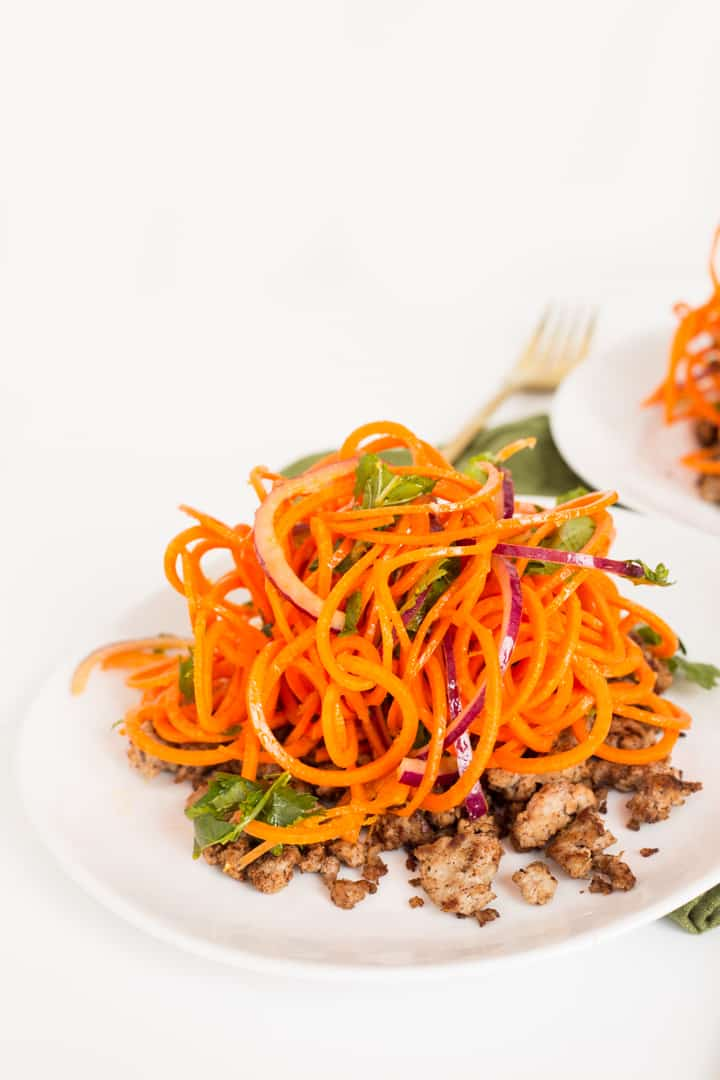 Indian Carrot Noodle Salad with Spiced Lamb